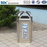 public bin with composite wood ,stainless square can ,waste bin for room/office/home