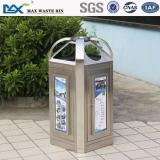 waste bin trash can ,indoor 4 compartment stainless steel ,Cylindrical with Stand